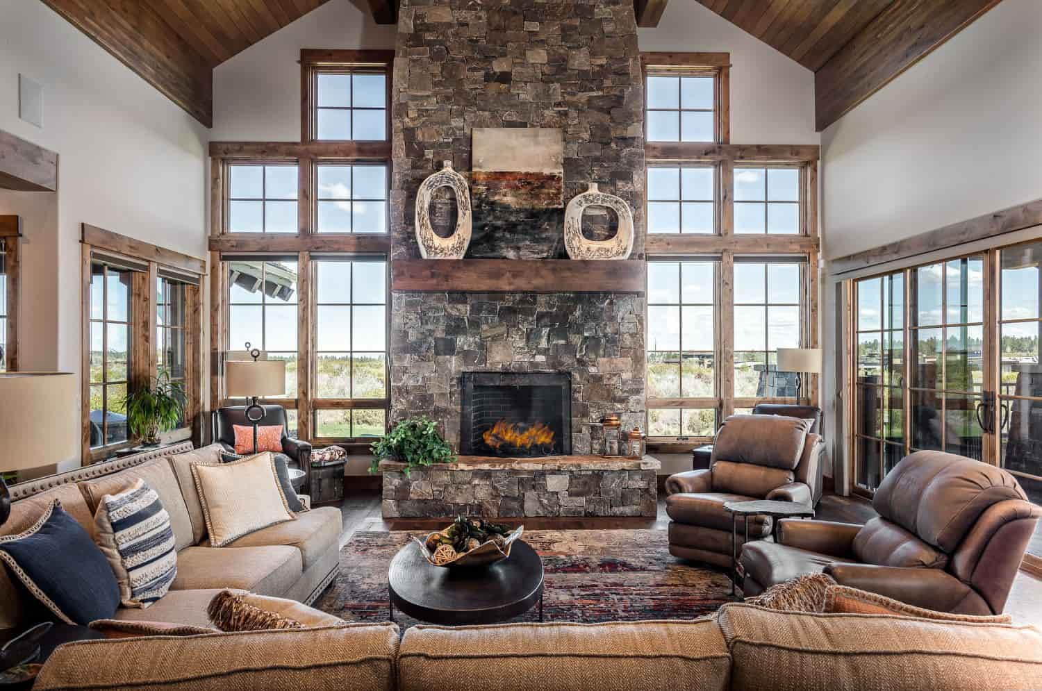 Tetherow High Desert Quintessence custom home sun soaked living room
