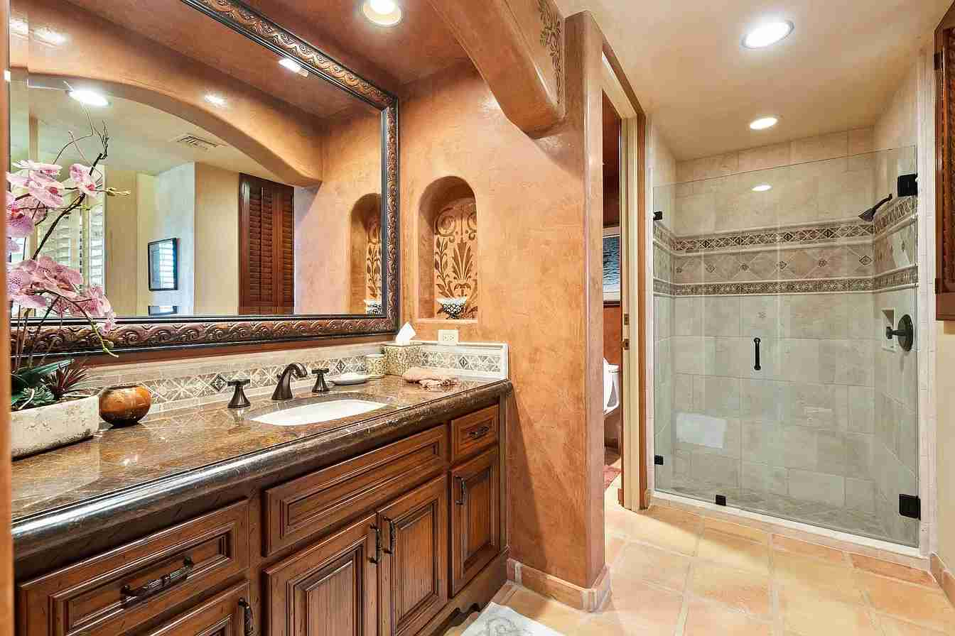 Palm Desert Custom Home Coachella Estate Guest Bathroom